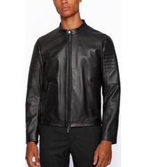 boss men's noptem regular-fit leather jacket