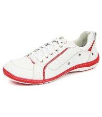 sapatênis casual em couro diniz & fernandes branco/vermelho