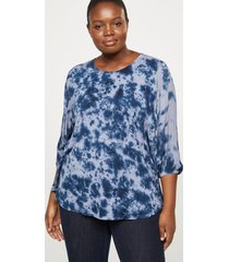 lane bryant women's tie-dye high-low top 14/16 night sky