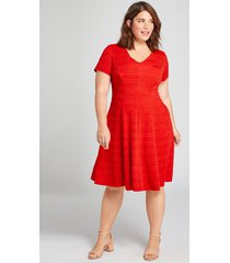 lane bryant women's textured fit & flare dress 18/20 flame scarlet