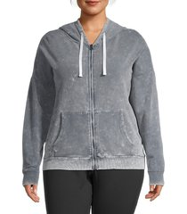 betsey johnson performance women's plus stretch-cotton hooded jacket - quick silver - size 1x (14-16)