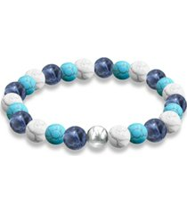 genuine stone bead stretch bracelet with fine silver plate or gold plate bead accent