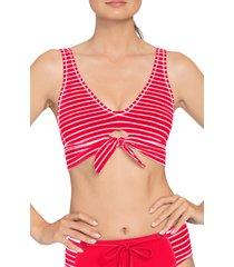 women's robin piccone sailor tie knot bikini top, size x-small - red