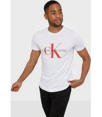 calvin klein jeans monogram logo slim tee t-shirts & linnen white