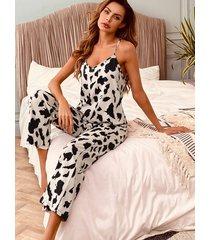 conjunto de pijama con tirantes finos y cintura elástica con diseño sin espalda de leopardo