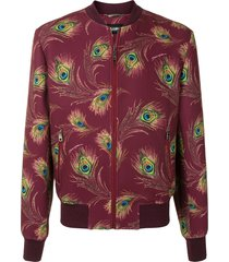dolce & gabbana peacock feather print bomber jacket - red
