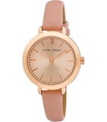 laura ashley ladies' signature case analog display rose gold watch