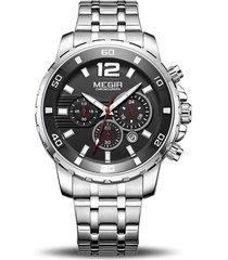 reloj hombre megir 2068 cronógrafo - plata