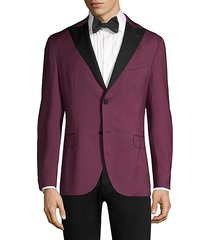 contrast lapel single-breasted suit jacket
