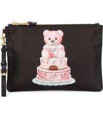 moschino cake teddy bear clutch - black