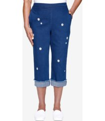 alfred dunner women's missy lazy daisy embroidered daisy capri pants