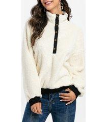 snap button drop shoulder teddy sweatshirt