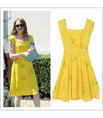 la la land mia yellow dress cosplay fancy party dress