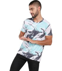 camiseta de hombre rachid kioto 110451 sublimada pinceladas blanca, gris y menta