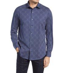 men's bugatchi print knit button-up shirt, size x-large - blue