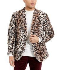 tallia men's leopard faux sport coat