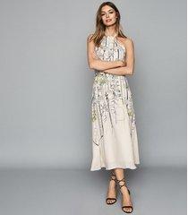 reiss kayla - watercolour floral midi dress in white, womens, size 12