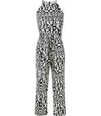 andrea marques sleeveless printed jumpsuit - black