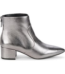 metallic leather booties