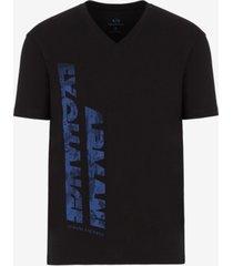 ax armani exchange men's vertical-logo v-neck t-shirt
