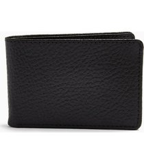 mens black leather bi-fold card holder
