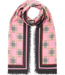 burberry chequer print scarf - pink