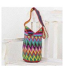 crocheted cotton bucket bag, 'zigzag colors' (guatemala)