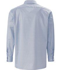 overhemd met kantkraag en dessin van olymp blauw
