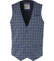 no excess gilet, knitted yarn dyed check indigo blue