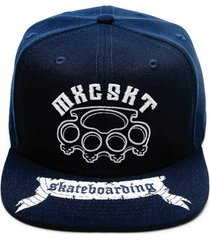 boné mxc brasil aba reta snapback ajustável soco inglês skate boarding sk8 azul