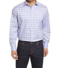 bugatchi shaped fit plaid stretch button-up shirt, size x-large in classic blue at nordstrom