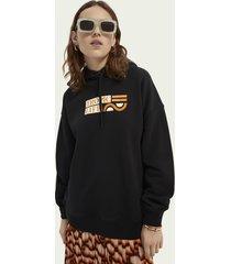 scotch & soda graphic black hoodie