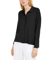 eileen fisher classic collared button-up shirt