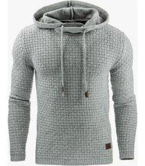 sudadera con capucha en color liso de manga larga para hombres-gris