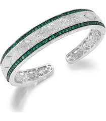 emerald (1-1/3 ct. t.w.) and diamond (1/10 c.t. t.w.) cuff bangle bracelet in sterling silver
