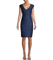 cap-sleeve tweed sheath dress
