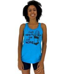 regata feminina alto conceito go hard or go home azul piscina - azul - feminino - algodã£o - dafiti