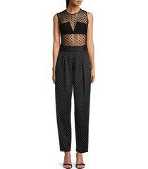 balmain women's studded polka dot sheer jumpsuit - black silver - size 36 (4)