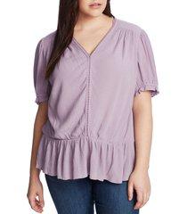 plus size women's 1.state circle trim peplum blouse, size 2x - purple