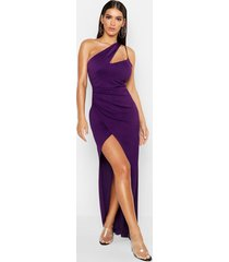 one shoulder maxi dress, purple