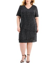 connected plus size pleated dot-print tiered dress