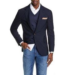men's brunello cucinelli trim fit solid wool & silk travel blazer, size 54 - blue
