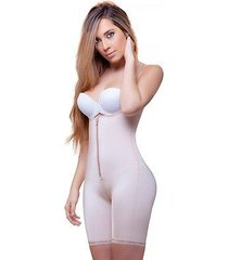 beige colombian body shaper with hook and eye plus front zipper closure