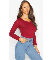 basic round neck long sleeve top, berry