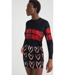 mini-skirt cotton hearts print - black - m