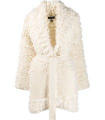 alanui tie-waist coatigan - white