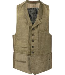 ziggy chen spread-collar single-breasted vest - green