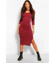 tall rib mandarin collar keyhole midi dress, berry