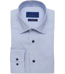 men's big & tall david donahue trim fit performance dress shirt, size 18.5 - 36/37 - blue