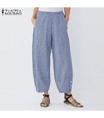 zanzea elástico de las mujeres de la cintura casual pantalones harem largas y anchas piernas del pantalón holgado -azul